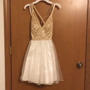 Gold and Whote Formal Dresses